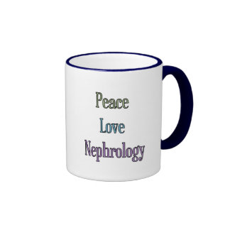 Paz, amor, nefrología taza de dos colores