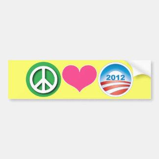 Paz, amor, Obama Pegatina De Parachoque