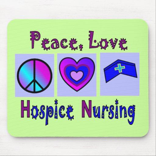 Paz, amor, oficio de enfermera del hospicio tapetes de ratón