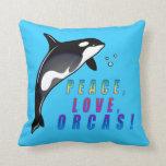 ¡Paz, amor, orcas! Almohada