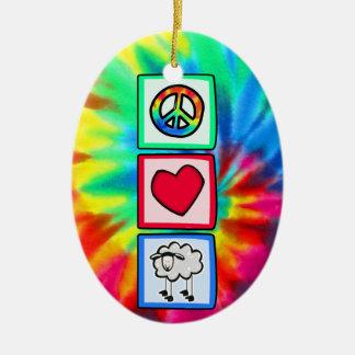Paz, amor, oveja adorno ovalado de cerámica
