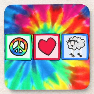 Paz, amor, oveja posavasos de bebida