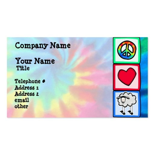 Paz, amor, oveja tarjetas de visita