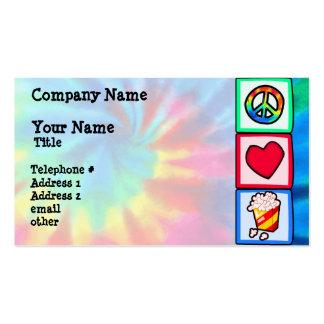 Paz, amor, palomitas tarjetas de visita