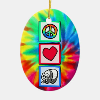 Paz, amor, pandas adorno navideño ovalado de cerámica