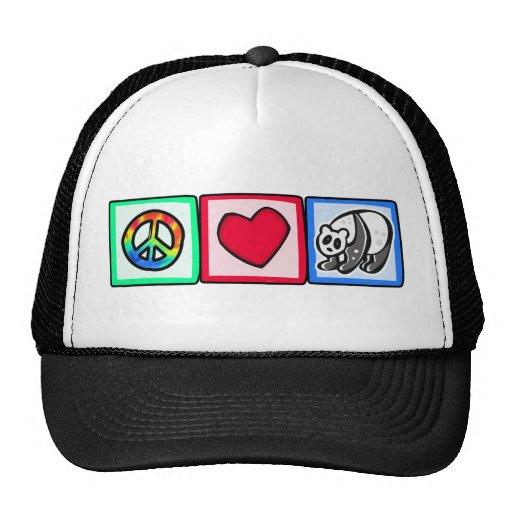 Paz, amor, pandas gorro de camionero