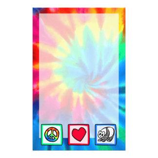 Paz, amor, pandas papelería de diseño