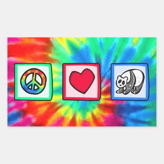 Paz, amor, pandas pegatina rectangular
