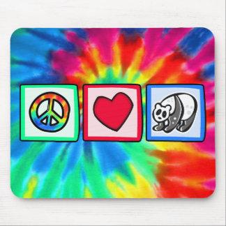Paz, amor, pandas tapete de ratón
