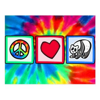 Paz amor pandas postal