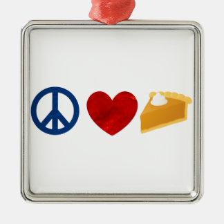 Paz, amor, pastel de calabaza adorno navideño cuadrado de metal