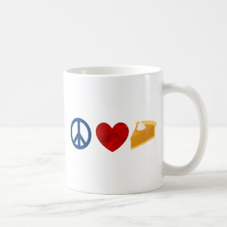 Paz, amor, pastel de calabaza taza