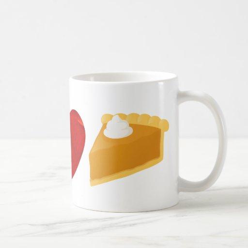 Paz, amor, pastel de calabaza taza básica blanca