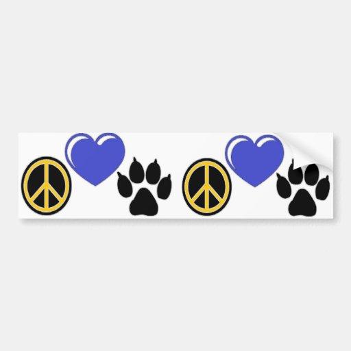 Paz, amor, pata etiqueta de parachoque
