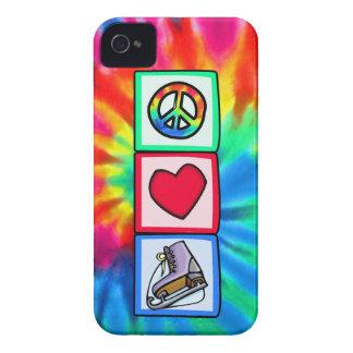 Paz, amor, patín de hielo iPhone 4 cárcasas