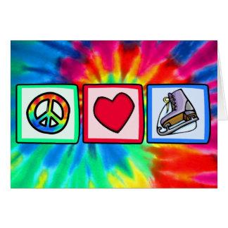 Paz, amor, patín de hielo tarjeta de felicitación