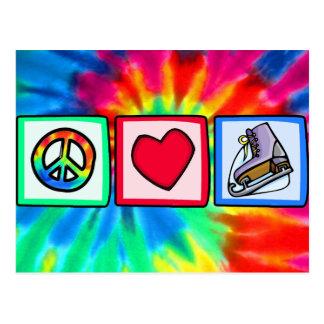Paz, amor, patín de hielo tarjeta postal