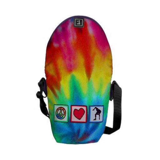Paz, amor, patinaje de velocidad bolsa messenger