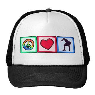 Paz, amor, patinaje de velocidad gorro de camionero