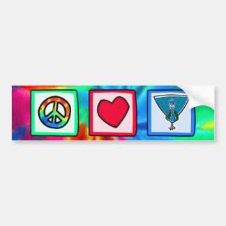 Paz, amor, pavos reales pegatina de parachoque