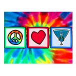 Paz, amor, pavos reales postal