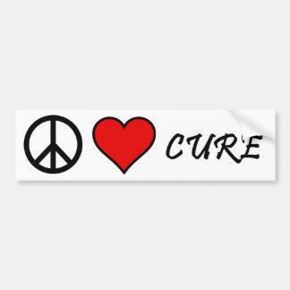 Paz, amor, pegatina para el parachoques de la cura etiqueta de parachoque