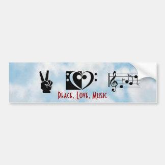 Paz, amor, pegatina para el parachoques de la músi etiqueta de parachoque