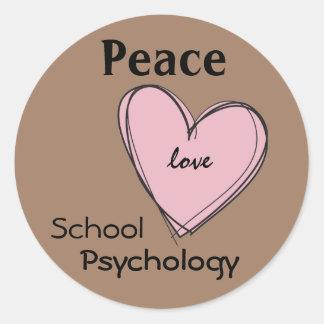 Paz, amor, pegatinas de la psicología de la escuel pegatina redonda