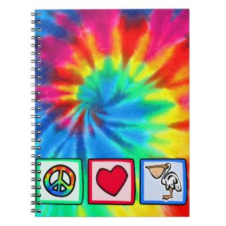 Paz amor pelícanos libreta