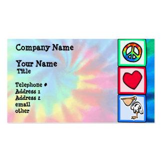 Paz, amor, pelícanos plantillas de tarjetas de visita