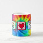 Paz, amor, pelícanos taza de café