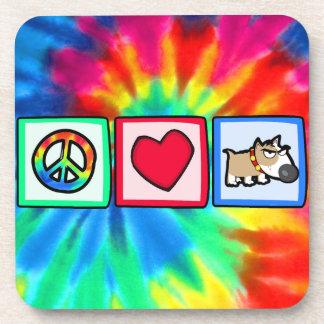 Paz, amor, perro gruñón posavaso