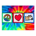 Paz, amor, perro gruñón postal