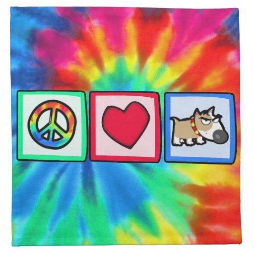 Paz, amor, perro gruñón servilleta de papel