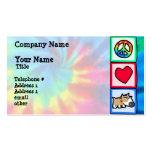 Paz, amor, perro gruñón plantillas de tarjetas de visita