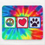 Paz, amor, perro; Pawprint Alfombrillas De Raton