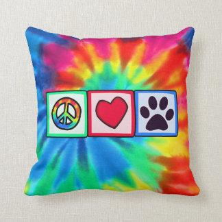 Paz, amor, perro; Pawprint Cojines