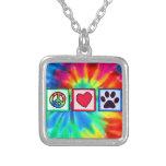 Paz, amor, perro; Pawprint Pendientes Personalizados
