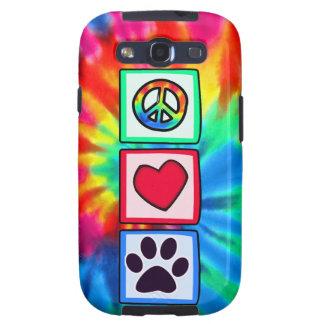 Paz, amor, perro; Pawprint Galaxy S3 Funda