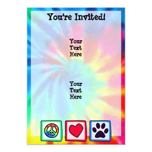 """Paz, amor, perro; Pawprint Invitación 5"""" X 7"""""""