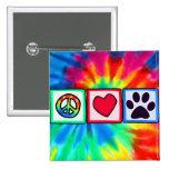 Paz, amor, perro; Pawprint Pin Cuadrada 5 Cm