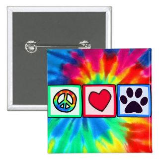 Paz, amor, perro; Pawprint Pin Cuadrado