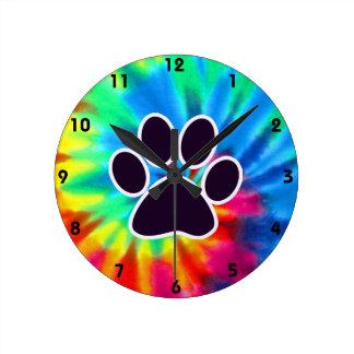 Paz, amor, perro; Pawprint Reloj Redondo Mediano