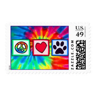 Paz, amor, perro; Pawprint Sello Postal