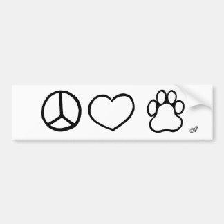 Paz, amor, perros etiqueta de parachoque