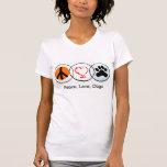 Paz, amor, perros camisetas