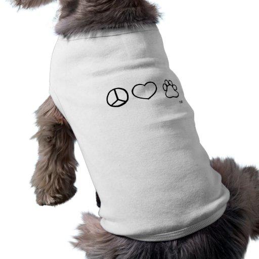 Paz, amor, perros camisetas de mascota