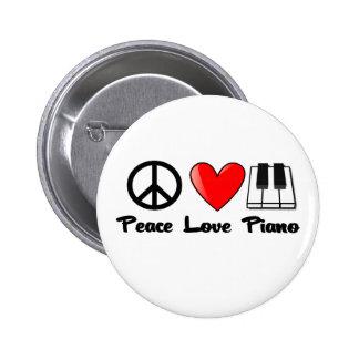 Paz, amor, piano pin redondo 5 cm