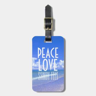 Paz, amor, pies de Sandy Etiquetas Bolsas