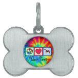 Paz, amor, Pitbulls Placas De Mascota